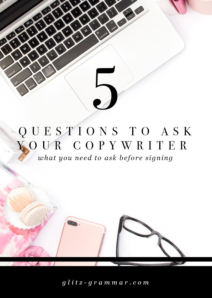 5 questions to ask your copywriter, everything you need to know before signing on that dotted line! Click to read the post + download the free printable checklist
