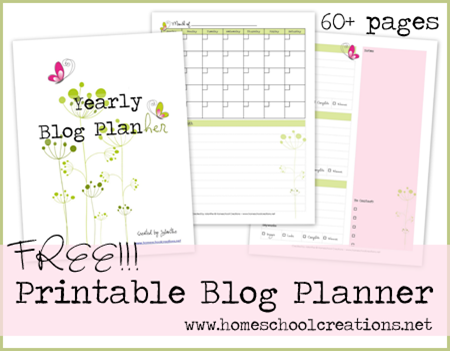 homeschool creations free blog planner
