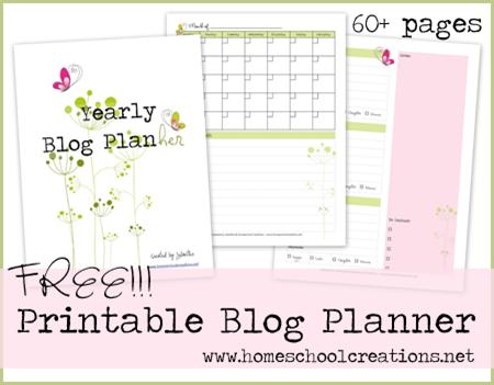 homeschool creations free blog planner