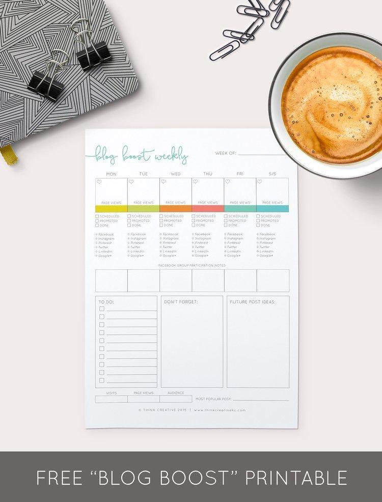 free printable blog planner worksheet