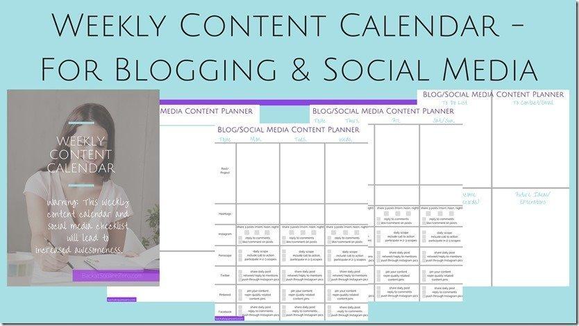 free printable blog social media calendar