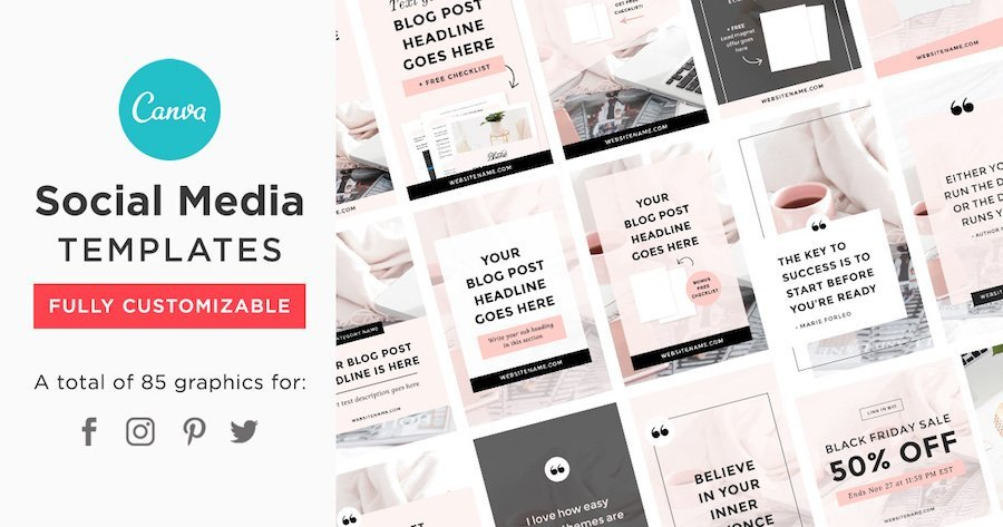 bluchic canva social media templates